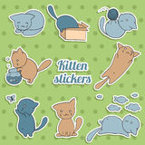 Set of stickers with cute kittens on green background Stock Photos