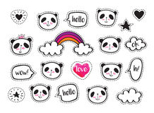 Set of stickers with cute pandas and bubbles. Royalty Free Stock Photo