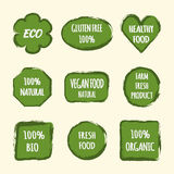 Set of stickers for design labels. Text ECO, Gluten Free 100%, H. Ealthy Food, Natural, Vegan, Farm Fresh Product, BIO, Organic. Background painted brush Royalty Free Stock Image