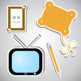 Set of stickers with different objects stock illustration