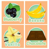 Set stickers with different products. Labels. Blueberries, banan Stock Photography