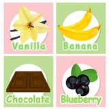 Set stickers with different products. Labels. Vanilla, banana, c Royalty Free Stock Images