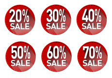 A set of stickers with discounts.Vector Royalty Free Stock Photos
