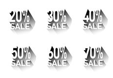 A set of stickers with discounts.Vector Royalty Free Stock Photo