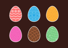 Set of stickers easter eggs with different patterns. Flat. Vector illustration Stock Image
