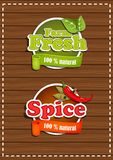 Set of stickers, farm fresh, spices. Natural product. On wooden background Vector Illustration