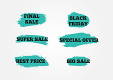 Set of stickers Final Big Super Sale, Black Friday, Special Offer, Best Price. Background of blue brush strokes. Grunge. Vector illustration. Six isolated Stock Photography