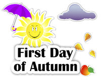 Set of stickers. First Day of Autumn. Royalty Free Stock Photography