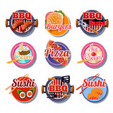 Set Stickers of Food Royalty Free Stock Photos