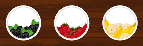 Set stickers with fresh bilberry, strawberries and banana on woo Stock Images