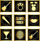 Set stickers of glam rock. Set of 9 black gold stickers  of glam rock Royalty Free Stock Images