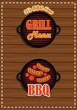 Set of stickers grill menu; BBQ facilities. On wooden background Stock Illustration