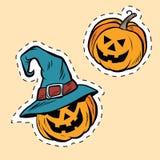 Set of stickers Halloween evil pumpkin Stock Photography
