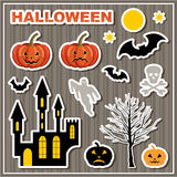 Set of stickers Halloween. Lock, bats, pumpkin, skull and ghost. Vector illustration Royalty Free Stock Images