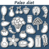 Set of stickers in hand drawn style on paleo diet. Theme: meat, fish, fruits, vegetables, spices, nuts. Healthy food concept for your design Stock Photos