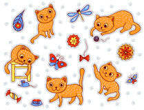 Set of stickers with the happy playing red cats Stock Photography