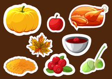 Set of stickers for Happy Thanksgiving Day. Badge, icon, template apple, cranberries, pumpkin pie, leaf, turkey, sous Stock Photography