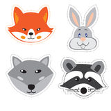 Set of stickers with the heads of animals in Doodle style on whi Stock Image
