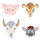 Set of stickers with the heads of animals in Doodle style Stock Images