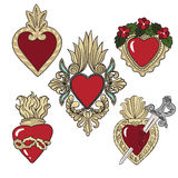 Set of stickers with heraldic hearts over white background. Royalty Free Stock Image