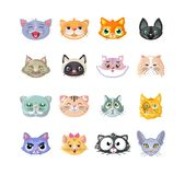 Set of stickers, icons, characters, funny cats, head, cute face. Royalty Free Stock Image