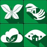 Set of stickers, icons environmental protection Stock Photo