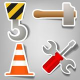 Set of stickers that indicate repair works Royalty Free Stock Photography