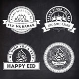 Set of stickers or labels for Eid Mubarak. Royalty Free Stock Photography