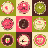 Set of stickers or labels for Happy Valentines Day. Stock Photos