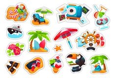 Set of stickers, labels, logotypes, badges with icon, summer trip. Big set of colorful stickers, labels, logotypes, badges with icon, summer trip, travel stock illustration
