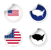 Set stickers and labels with motive state america Stock Photography