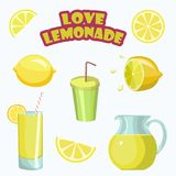 Set of stickers for lemonade lovers. Lemoms, glasses of lemonade, jar Royalty Free Stock Photo
