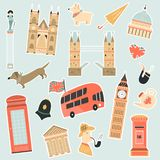 Set of stickers with London landmarks and symbols royalty free illustration