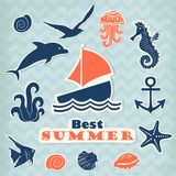 Set of  stickers with marine life Royalty Free Stock Images