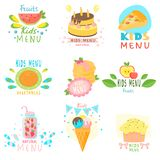 Set of stickers of natural children s menu with colorful images of natural fruits, sweets, ice cream, children s delicious drinks stock illustration