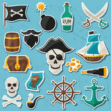 Set of stickers and objects on pirate theme Stock Photos