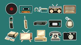Set of stickers of old retro vintage antique hipster mobile phones, tv, audio recorder, player, audio tape, video tape, video stock illustration