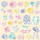 Set of stickers with owls and fashionable things. Royalty Free Stock Photo