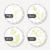 Set of stickers for package design with kaffir lime, borage, hyssop, stevia Stock Photos
