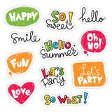 Set of  stickers. Patches with lettering and speaking bubbles Royalty Free Stock Images
