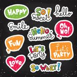 Set of  stickers. Patches with lettering and speaking bubbles Stock Images