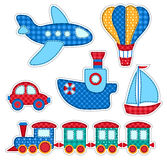 Set of stickers with patchwork transport Stock Image