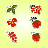 A set of stickers with patterns hohloma. Russian hohloma style stickers set. Vector illustration Royalty Free Stock Photography