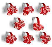 Set of stickers percent for sale. A 3d illustration set template of various stickers percent for sale. Wobblers Royalty Free Stock Images