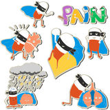Set of stickers pills-superheroes protect organs Stock Photo