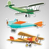 Set of stickers with retroplanes Royalty Free Stock Photo
