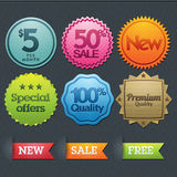 Set of stickers and ribbons Royalty Free Stock Photography