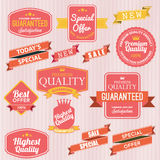 Set of  stickers and ribbons Stock Photos