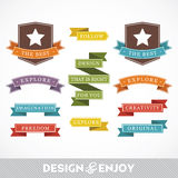 Set of stickers and ribbons. Design concept, vector illustration stock illustration