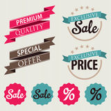 Set of stickers and ribbons. Discount sale badge concept, vector illustration stock illustration